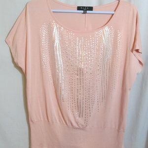 B.L.E.U. Petite Blush Pink Metallic Silver T-shirt